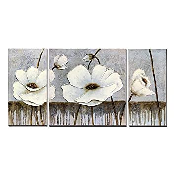 3Hdeko - Flower Pictures Wall Art 3D Hand Painted White Poppies Floral Oil  Painting on Gray Canvas for Living Room Bedroom, Modern 3 Pieces Grey Home  ...
