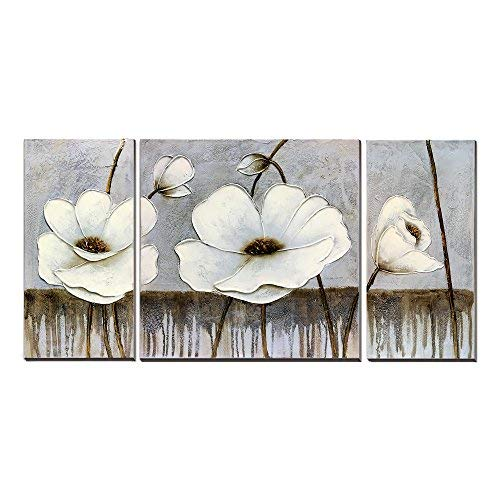 - 3Hdeko - Gray White Flower Picture Wall Art 100% Hand-painted Beige Floral Oil Painting Modern 3 Pieces Elegant Canvas Wall Decor for Living Room Teen Girl Bedroom Office, Ready to Hang