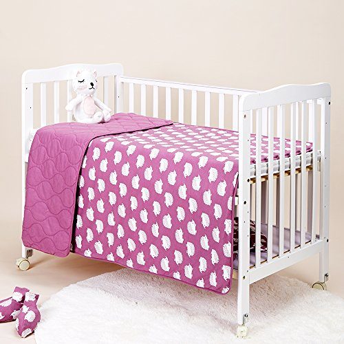(Lightweight Animal Reversible Bedding Crib, Coverlet Quilt Bedspread Throw Blanket Comforter,for Baby Infant Toddler Kids Boy Girl Bed Gift, Breathable 100% Jersey Cotton,Size 47 X 59, Purple Hedgehog)