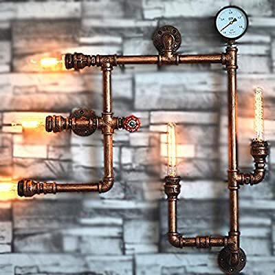 Industrial Wall Sconce - Ruanpu Vintage Wall Light 28.7'' Wide 5 Lights Antique Wall Lamp with Pipe Fixture Arm in Bar Style