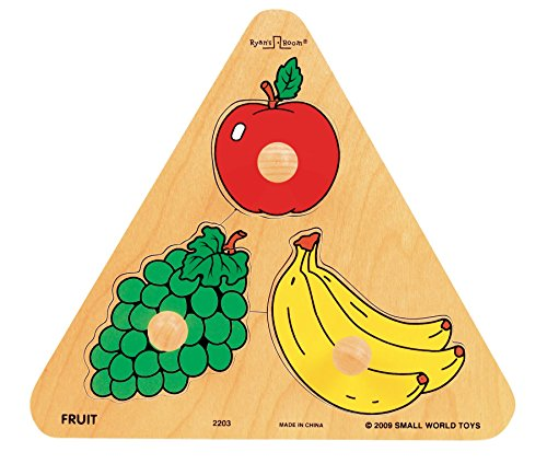 Triangle Knob Puzzle - Small World Toys Ryan's Room Wooden Puzzle - Triangle Shaped Fruit Design
