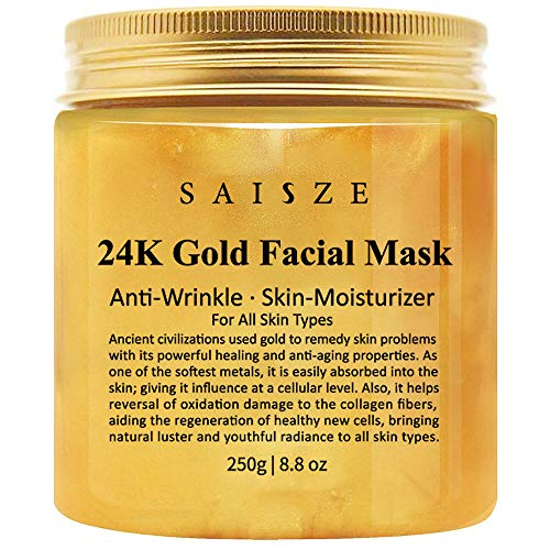 24k Gold Face Mask, Anti-Wrinkle Anti-Fine Lines Anti-Toxin and Face Moisturizer, Facial treatment by SAISZE - 6.8oz -