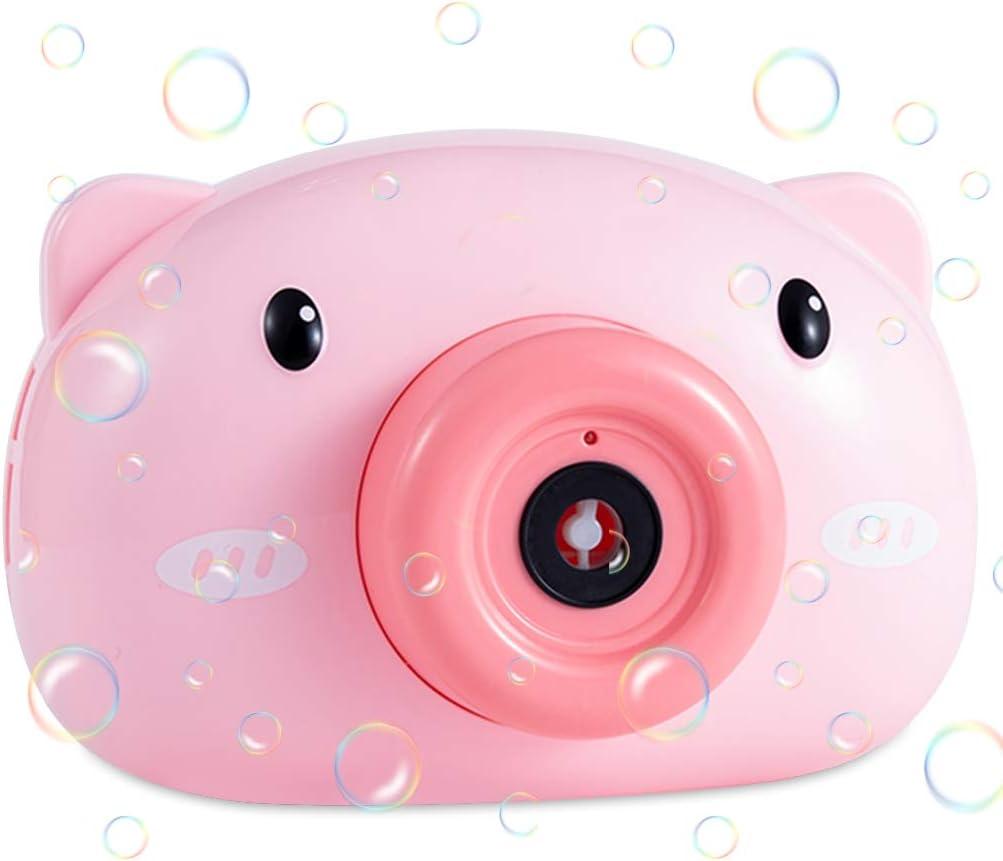 Máquina de burbujas automática Soplador de burbujas con luz,música y muchos Burbujas, Bubble Machine en forma de cámara del Cerdo rosa Juguete de Regalo para Verano al Aire Libre para Niños (Rosa)
