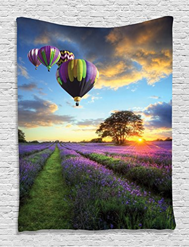 Ambesonne Lavender Fields Hot Balloons Nature View Sunset Scene High Resolution Photo Digital Printed Tapestry Wall Hanging Wall Tapestry Living Room Bedroom Dorm Decor, Blue Purple Yellow ()