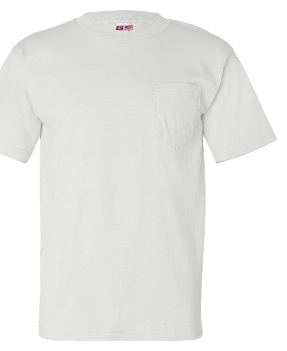 Bayside Adult Tee with Pocket, White, XXX-Large Pack of 12