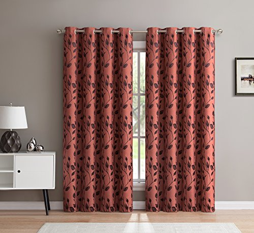 HLC.ME Rona Floral Thermal Room Darkening Grommet Top Rust Blackout Curtains for Bedroom – Set of 2 – 84″ Inch Long