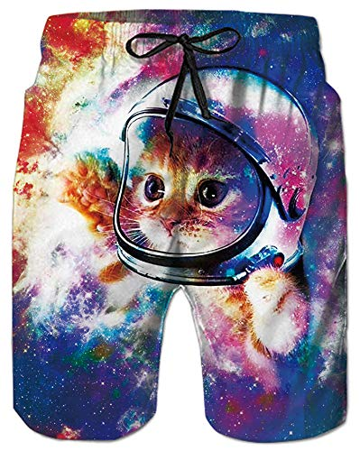 - 80s Funny Swim Trunks 3D Graphic Galaxy Cat Kitty Board Shorts Cool Purple Outer Space Universe Sport Watershorts Quick Dry Large Surf Swimsuits with Pockets for Mens Male Youngster