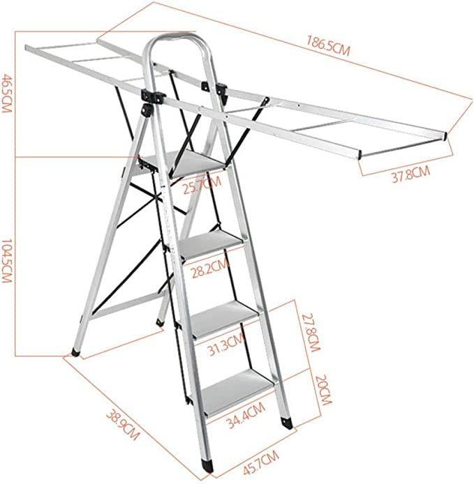 Zhongxingenggeng Escalera Plegable portátil Taburete de Paso Inicio multifunción de Doble Uso Tendedero Piso Escalera Plegable Cubierta Escalera de Aluminio Engrosamiento Balcón ala: Amazon.es: Hogar