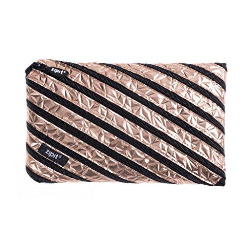 ZIPIT Metallic Big Pencil Case/Cosmetic Makeup Bag, Rose Gold