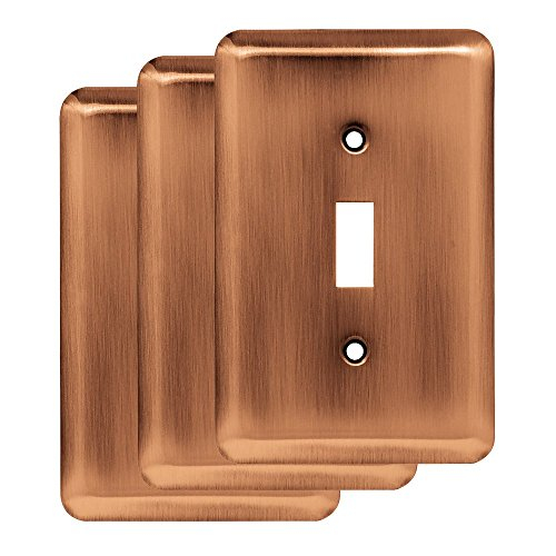 Franklin Brass W10245V-AC-R Stamped Round Single Toggle Wall Switch Plate/Cover, 3 Pack, Antique Copper