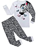 Family Feeling Zebra Little Girls 2 Piece 100% Cotton Pajamas Sets Kids Toddler Pjs Size 6 White