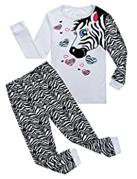 Family Feeling Zebra Little and Big Girls 2 Piece 100% Cotton Pajamas Sets Kids Pjs