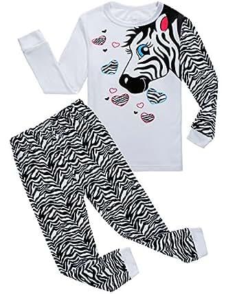 Family Feeling Zebra Little Girls 2 Piece 100% Cotton Pajamas Sets Kids Toddler Pjs Size 3T White