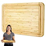 Bamboo Cutting Board and Serving Tray with Juice Groove - Extra Large 18 x 12 inches - Made Using Premium Bamboo