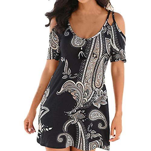 Mini Dress Holiday - BEAUTYVAN Floral Dresses,Womens Summer Short Sleeve Cold Shoulder Holiday Beach Mini Dress Black