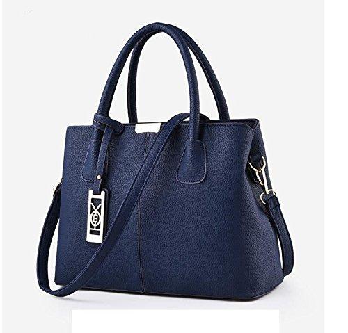 LEODIKA Envejecida media bolsa de las mujeres, bolso de la madre, de doble uso de la mano Señora través de la bolsa, hombro hombro ancianos y la gente del viejo Oriente Llevar Big Bag Royal Blue