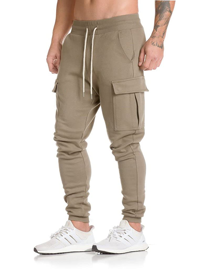 JoofEric Men's Fitness Bodybuilding Workout Trousers Gym Running Jogger Pants Light Khaki#1)