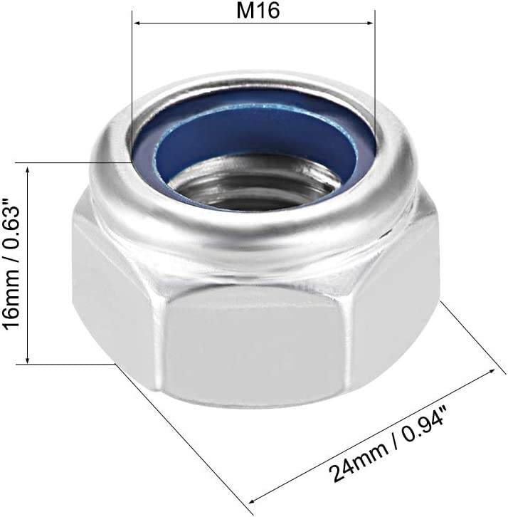 Plain Finish Pack of 20 304 Stainless Steel uxcell M2.5 x 0.45mm Nylon Insert Hex Lock Nuts