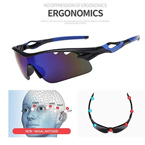 pêche sports des Cadre lunettes Jiele Noir soleil 9302 lunettes pour protection unisexe de la Sport Bleu vélo à de UV400 zwqOA