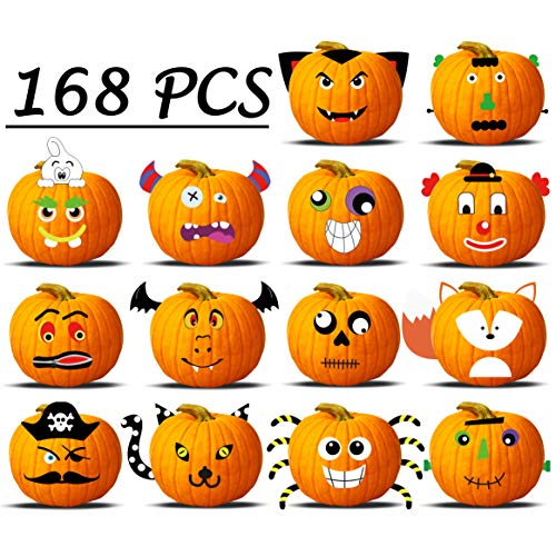 Halloween Movie Pumpkin Stencils (168PCS Pumpkin Decorating Crafts for Kids 3D Halloween Jack-O-Lantern Face Decoration Foamed Cutout Party)