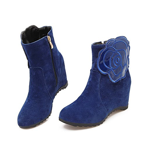 Heels top Toe Boots Solid High Suede Closed Imitated Low Round Blue Women's Allhqfashion B0XZq