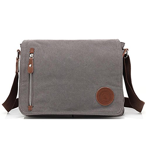 Gray Vintage Shoulder Messenger Schoolbag Bags Satchel Laptop Canvas Bag Men Widewing qpngRR