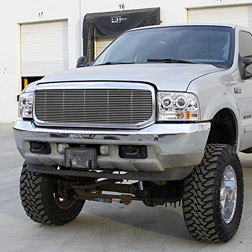 Spec-D Tuning 2LHP-F25099-TM Ford F250 F350 Led Chrome Clear Projector Halo Head Lights by Spec-D Tuning (Image #1)