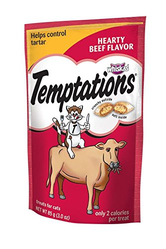 Whiskas Temptations Hearty Beef FlavourTreats for Cats, 3-Ou
