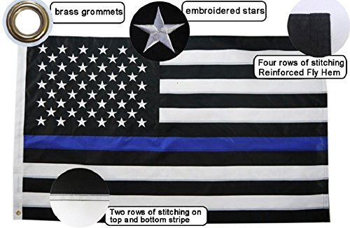 Thin Blue Line American Flag - 3x5 Feet, Embroidered Stars, Sewn Stripes, Premium Stitching, for Police and Law Enforcement Support