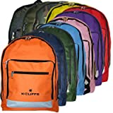 K-Cliffs 17 Inch Polyester School Bookbag / Outdoor Backpack with Reflective Strip