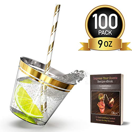 9 oz Gold Rim Plastic Cups with Eco-Friendly Paper Straws - 100 Elegant Clear Rimmed Cocktail & Dessert Tumblers for Weddings & Special Events - Reusable or Disposable - With -