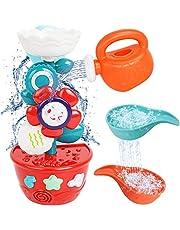 Babyspeelgoed - badspeelgoed voor 1 jaar oud, babybadspeelgoed 12 maanden, badspeelgoed voor 1 2 3 jaar oude jongens meisjes, douche speelgoed geschenken voor kinderen verjaardag (bloem waterval met mini-sproeier en lepels)