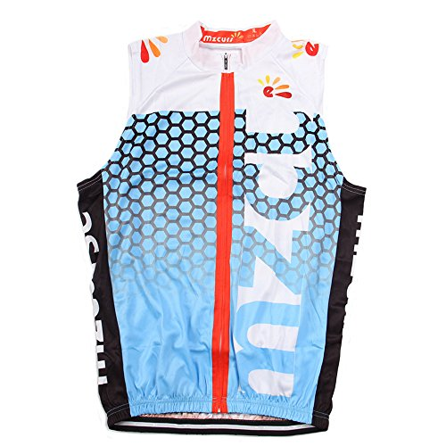 - Mzcurse Men's Sleeveless Wind Vest Cycling Jersey Shirt Bicycle Bike Tees (Blue , XX-Large,please check the size chart)