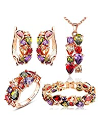 Multiple with Swarovski Elements Crystal Wedding Bridal Jewelry Set Necklace and Earrings and Bracelet and Ring Set for Women