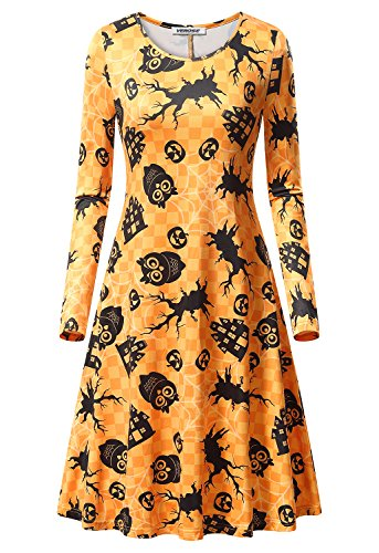 Women's Halloween Scary Bat Pumpkin Spider Smock Swing Costume Dress Funny Long Sleeve Casual Flared Midi Party Dresses -