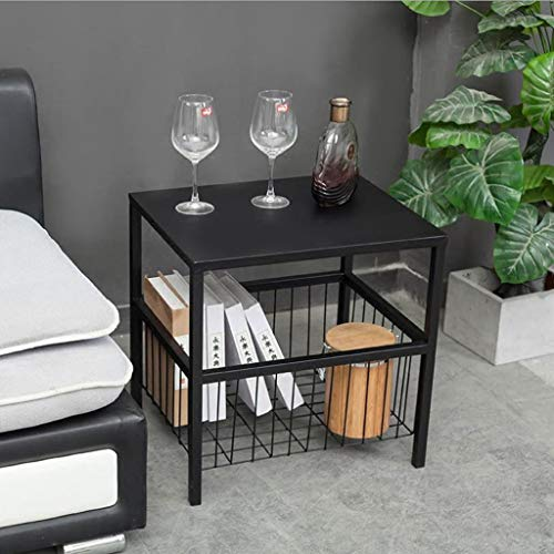 - L-Life End Tables Side Table Living Room Storage Side Table Coffee Table Bedroom Study End Table, Double Shelf,504050 cm (Color : Black)
