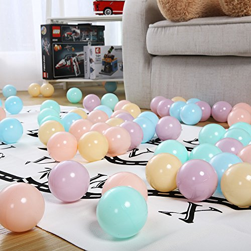 PlayMaty Pack of 50 Macaron Ball Pit Plastic Ball Kids Swim Pit Fun Toy 50 Pieces Balls with Storage Bag for Baby Playhouse Pool Birthday Party Decoration by PlayMaty