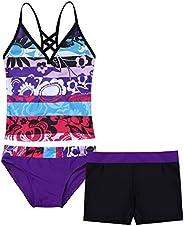 Jizyo Kids Girls 2 Piece Tankini Swimsuit Bathing Suit Halter Top with Boyshort Summer Casual Holiday Beach Sw