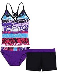 1f7a0a0bae Big Girls Youth Two Piece Tie-Dye Tankini Swimsuit Bikini Bathing Suit  Halter Top Boyshort