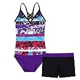 iEFiEL Big Girls Peace Signs Heart Print 2Pcs Tankini Swimwear Bathing Suit (16, Purple Floral)