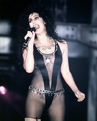 [Cher 16x20 Canvas Stunning Very Revealing Black Costume Tattoo Concert Singing] (Revealing Costumes)