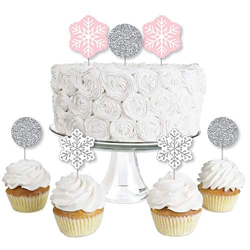Pink Winter Wonderland- Dessert Cupcake Toppers - Holiday Snowflake Birthday Party or Baby Shower Clear Treat Picks - Set of 24