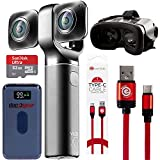Vuze XR 4K 3D Dual VR 360 Camera with Deco Gear 4-Piece Virtual Reality Kit, 360-Degree Camera, Type-C Charge Sync Cable, 32GB Class 10 SD Memory Card, 8000 mAh Powerbank, VR Goggles (Black) (Color: Black)
