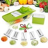Mandoline Slicer - Premium Vegetable Potato Slicer Grater - Cutter for Tomato, Onion, Cucumber, Zucchini Pasta, Cheese - Julienne Veggie Peeler Chopper - Kitchen Vegetable Slicer -Food Storage