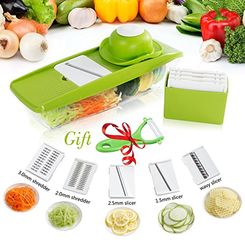 Mandoline Slicer Premium Vegetable Potato Slicer Grater Cutter for Tomato, Onion, Cucumber, Zucchini Pasta, Cheese Julienne Veggie Peeler Chopper Kitchen Vegetable Slicer Food Storage