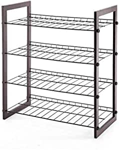 Storage Maniac 4 Tier 12 Pair Shoe Rack Space Saving Shoe Organizer For Entryway Black Steel Wire With Wood Frame Amazon Ca Home Kitchen