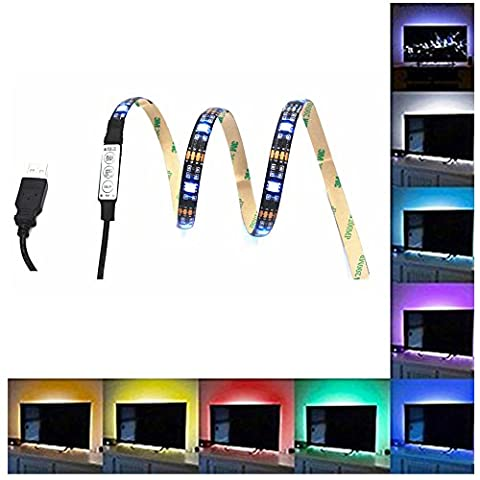 EONPOW 39.4 Inch Bias Lighting for HDTV USB Powered 30 LED Neon Strip Multi Color RGB Strip Accent Lighting Kit for TV PC (Reduce Eye Fatigue and Increa Image Clarity)