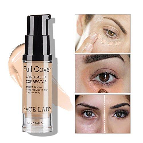 SACE LADY Full Coverage Under Eye Concealer Corrector Makeup Base, Waterproof Flawless Smooth Concealer for Cover Eye Dark Circles 6ml/0.20Fl Oz