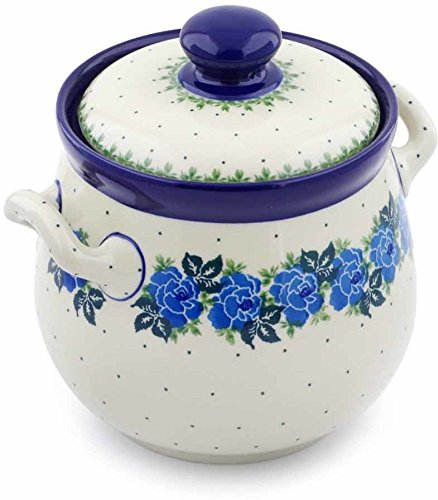 Polish Pottery 7-inch Jar with Lid and Handles made by Ceramika Artystyczna (Blue Garland Theme) + Certificate of Authenticity