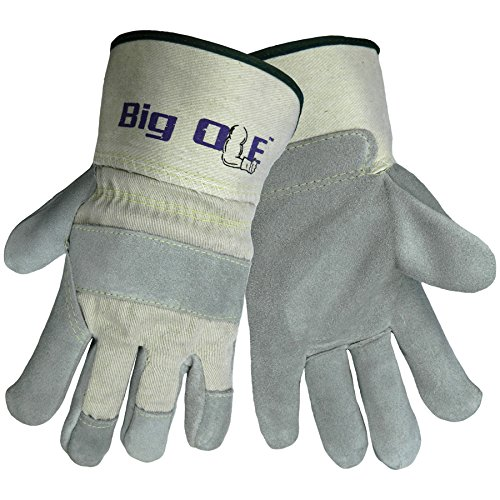 Global Glove 2100 Big Ole Leather Gunn Cut Premium Grade Glove with White Canvas Back and Washable Safety Cuff, Work, Extra-Large (Case of 72)